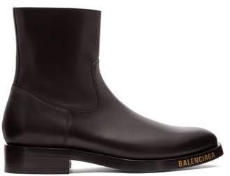 Balenciaga Logo Studded Leather Boots - Mens - Black