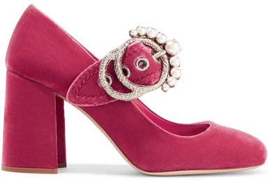 Miu Miu - Embellished Velvet Mary Jane Pumps - Pink