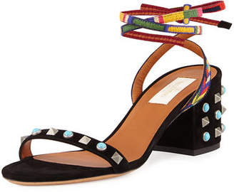 Valentino Rockstud Rolling Embroidered 60mm City Sandal $895 thestylecure.com
