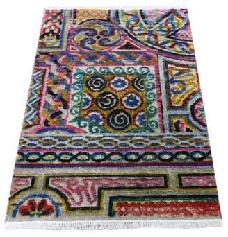 Bloomsbury Market Sampler Sari Silk with Textured Wool Arts & Crafts Handmade Rug Bloomsbury Market