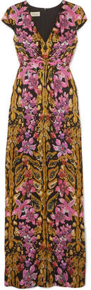 Temperley London Bow-embellished Printed Hammered-silk Gown - Pink
