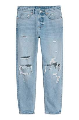 H&M Boyfriend Low Ripped Jeans - Light denim blue/Trashed - Women