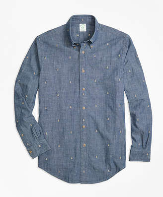 Brooks Brothers Milano Fit Anchor Embroidered Indigo Chambray Sport Shirt