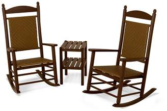 Polywood 3-piece Jefferson Woven Outdoor Rocking Chair & Side Table Set