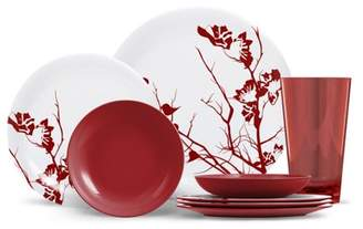 ThermoServ Everyday Collection Cora - 16 Piece Melamine Dinnerware Set - Dogwood Floral - Slate Grey
