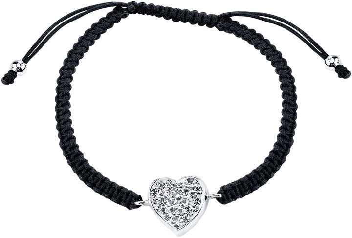 JCPenney Bridge Jewelry Footnotes Too Pure Silver-Plated Crystal Heart Bracelet