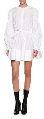 Alexander McQueen Blouson-Sleeve Tie-Waist Minidress, White
