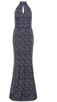 Quiz Grey Glitter Lace High Neck Fishtail Maxi Dress