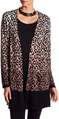 Joseph A Leopard Print Double Knit Cardigan