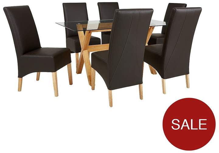 Venla 150 Cm Solid Wood And Glass Dining Table + 6 Eternity Chairs