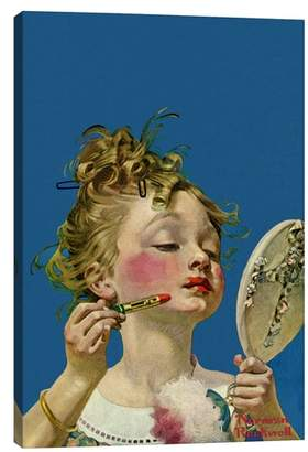 iCanvas Little Girls with Lipstick - Norman Rockwell Giclee Print Canvas Art