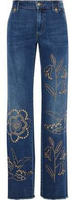 RED Valentino Studded Mid-Rise Wide-Leg Jeans