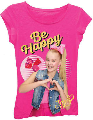 Asstd National Brand JoJo Siwa Be Happy with Hands in Heart Short Sleeve Graphic T-Shirt with Gold Glitter Girl's 4-16