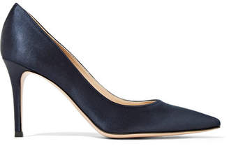 Gianvito Rossi 85 Satin Pumps - Navy