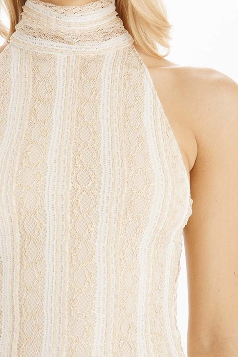 Torn By Ronny Kobo Claudia Gold Lace Long Dress in White