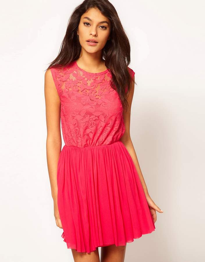 Asos Skater Dress With Lace And Mesh