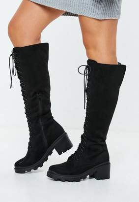Missguided Lace Up Calf Height Boots