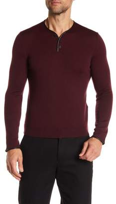 The Kooples Merino Wool Leather Accent Jumper