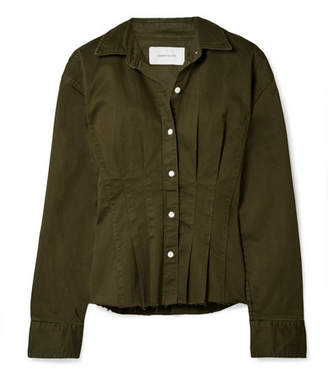 Current/Elliott The Tella Pleated Cotton-blend Twill Jacket - Army green