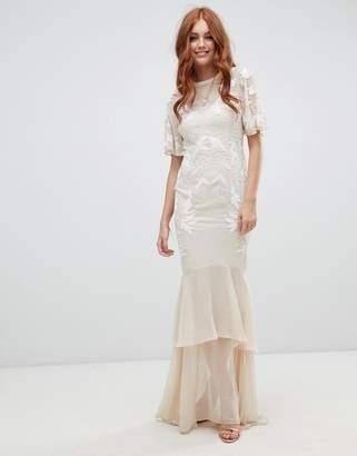 Hope and Ivy Hope & Ivy embellished dress with open back detail in vintage ivory