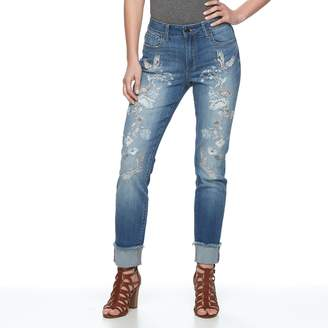 Seven7 Women's Embroidered Slim Straight-Leg Jeans