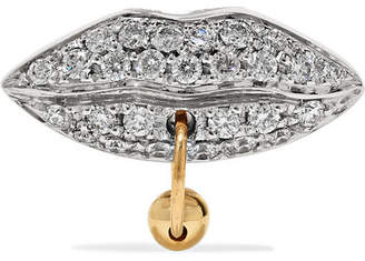 Delfina Delettrez 18-karat White And Yellow Gold Diamond Earring - White gold