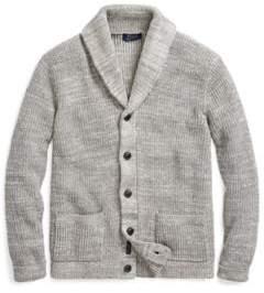 Ralph Lauren Cotton Shawl-Collar Cardigan Grey Ragg Xs