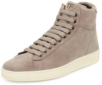 TOM FORD Russel Suede High-Top Sneaker, Light Gray $990 thestylecure.com