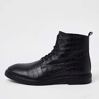 River Island Black croc embossed leather boots
