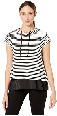 Vince Camuto Short Sleeve Rich Stripe Mix Media Double Layer Hoodie