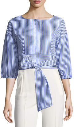 J.o.a. Cropped Poplin Bow-Front Blouse