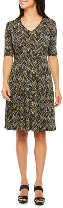 Ronni Nicole Short Sleeve Chevron Fit & Flare Dress