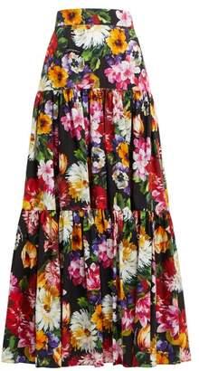 Dolce & Gabbana Floral Print Tiered Cotton Poplin Maxi Skirt - Womens - Black Multi