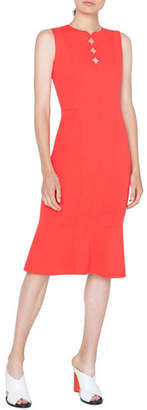 Akris Punto Sleeveless Jersey Dress with Memphis Scallop Detail