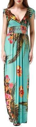 Wantdo Women's Boho Maxi Dress Summer Floral Printing Long Dress Plus Size(, Plus)