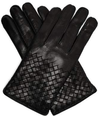 Bottega Veneta Intrecciato Woven Leather Gloves - Mens - Black