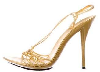 Casadei Metallic Slingback Sandals
