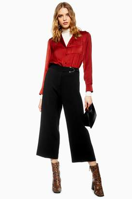 Topshop Womens D-Ring Cropped Trousers - Black