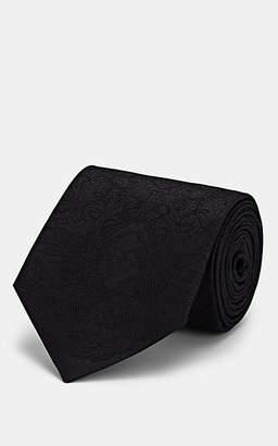Alexander McQueen Men's Lace-Print Silk Necktie - Black