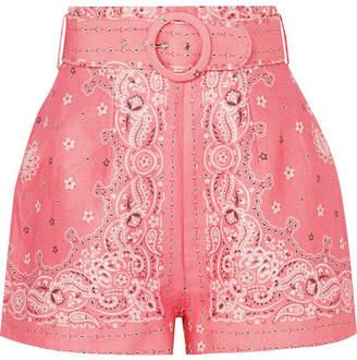 Zimmermann Printed Belted Linen Shorts - Pink