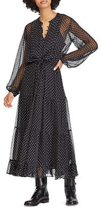 Polo Ralph Lauren Silk Polka Dot Long Sleeved Fit-and-Flare Maxi Dress