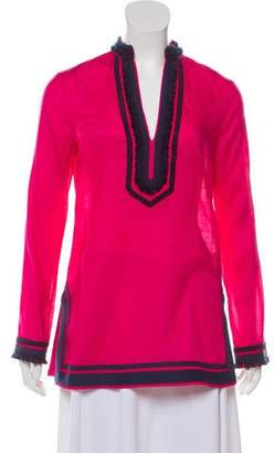 Tory Burch Embroidered Long Sleeve Tunic