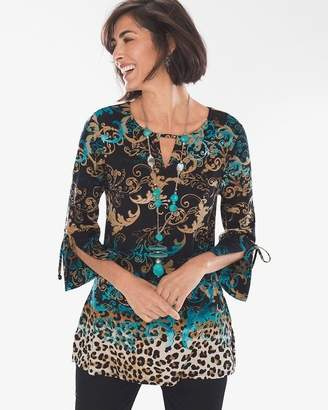 Chico's Chicos Scroll Leopard-Print Tie-Sleeve Tunic