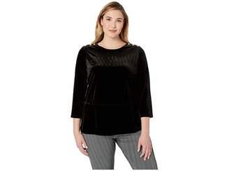 Lauren Ralph Lauren Plus Size Georgette-Velvet Tunic Top