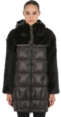Faux Fur & Nylon Down Coat
