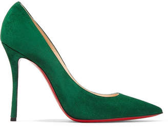 Christian Louboutin - Decoltish 100 Suede Pumps - Forest green $675 thestylecure.com