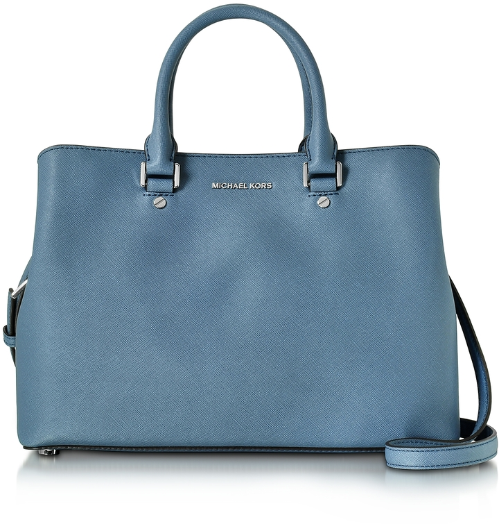 Michael Kors Savannah Denim Saffiano Leather Large Satchel Bag