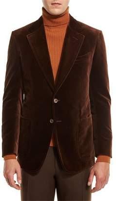 Tom Ford Shelton Base Velvet Sport Jacket, Brown