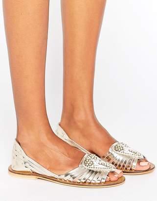 Asos Design JIA Leather Embellished Summer Shoes