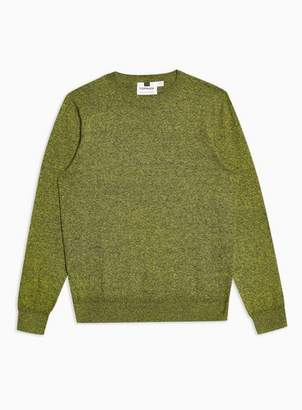 Topman Mens Yellow Twist Hem Stitch Sweater